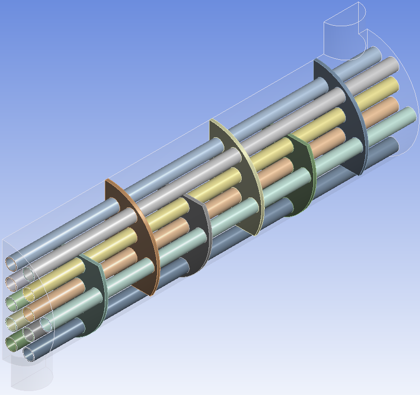 Partial Shell and Tube Heat Exchanger - Isometric Geometry View